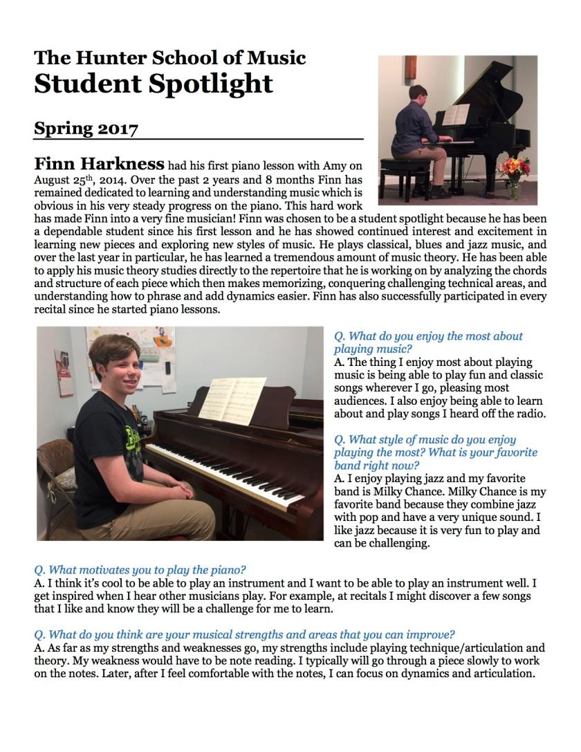 Finn Student Spotlight Spring 2017