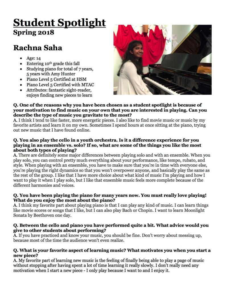 Student Spotlight, Rachna Saha