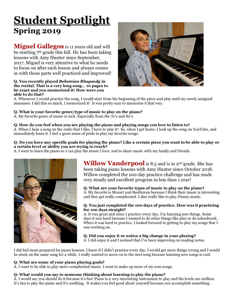 Miguel and Willow Student Spotlight Spring 2019